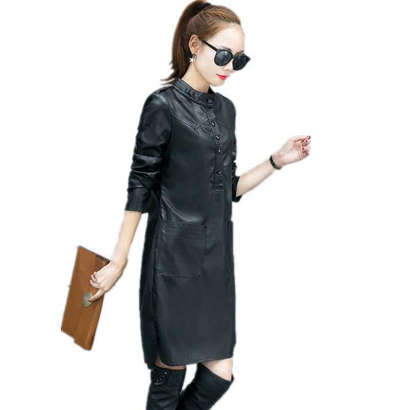 Autumn PU Leather Dress Women Plus Velvet Vestidos Shirt Dress Plus ...