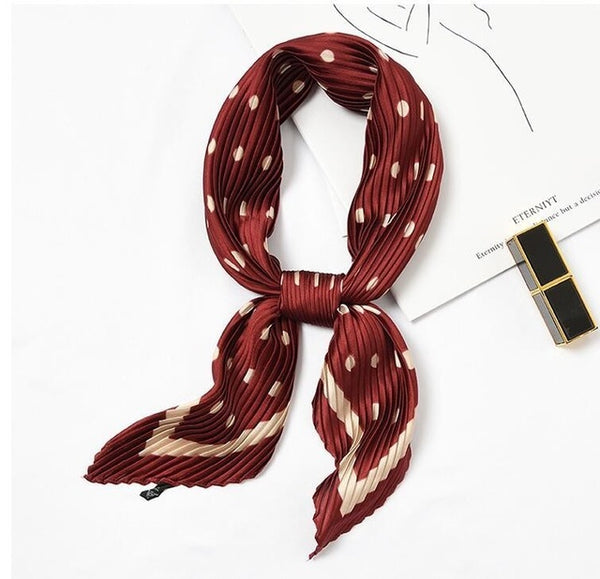 Autumn Winter 55*55cm Women New Pleated Leopard Print Scarf Faux Silk Korean Fashion Polka Dots Square Shawls Leopard Scarves