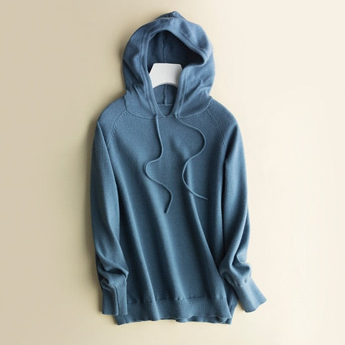 Autumn and winter age-reducing sweater women's hooded sweater women's sweater hoodies loose base large size coat