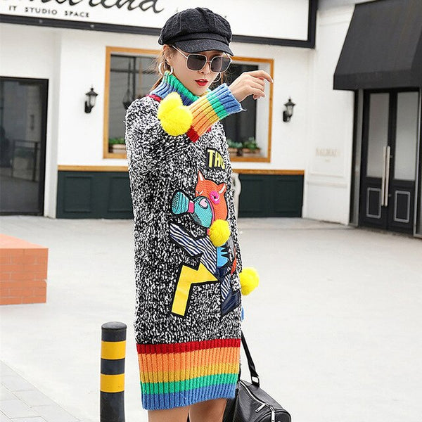 Autumn and winter wild high collar sweater female long section rainbow cartoon letter patch knit bottoming shirt tide