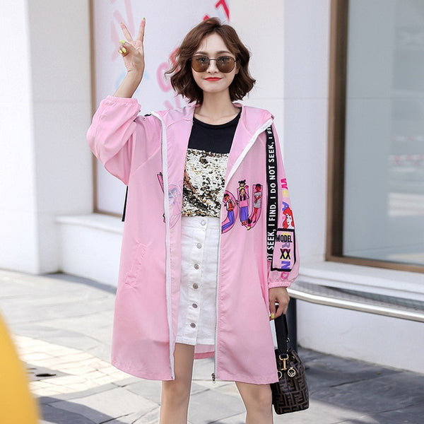 Autumn jacket female 2019 autumn women's tide brand cartoon stitching hooded long windbreaker female