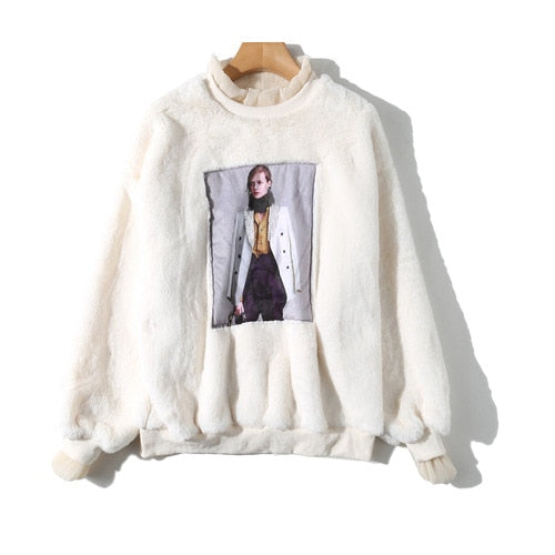 Autumn ladies loose sweater 2019 autumn new high imitation rabbit fur beaded sweater tide brand loose thin thick sweater