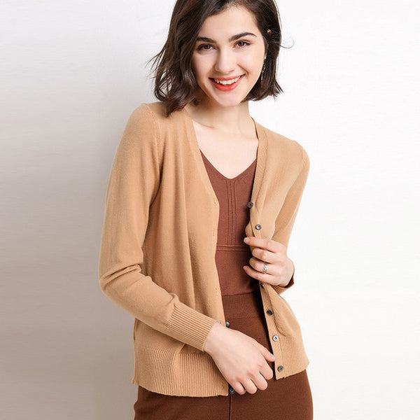 Autumn new sweater women's cardigan short sweater solid color long-sleeved round V-neck slim slim coat jacket