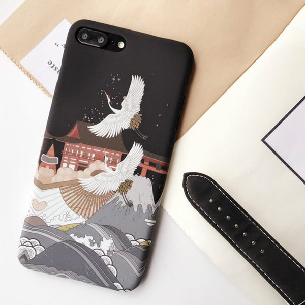 BABKAHSO Japanese Style Crane Case for iPhone 7 7plus 8 8plus 6s 6Plus Phone Case Simple Art Original Design Frosted Hard Shell