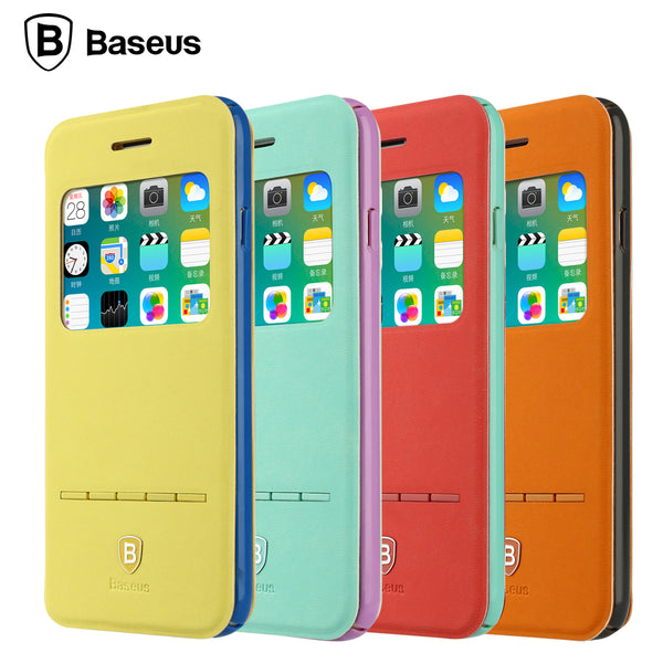 Baseus Fashion Young Colorful Leather Phone Case For iPhone 6 6s Window View Smart Flip Cover For iPhone 6 Plus 6s Plus Coque