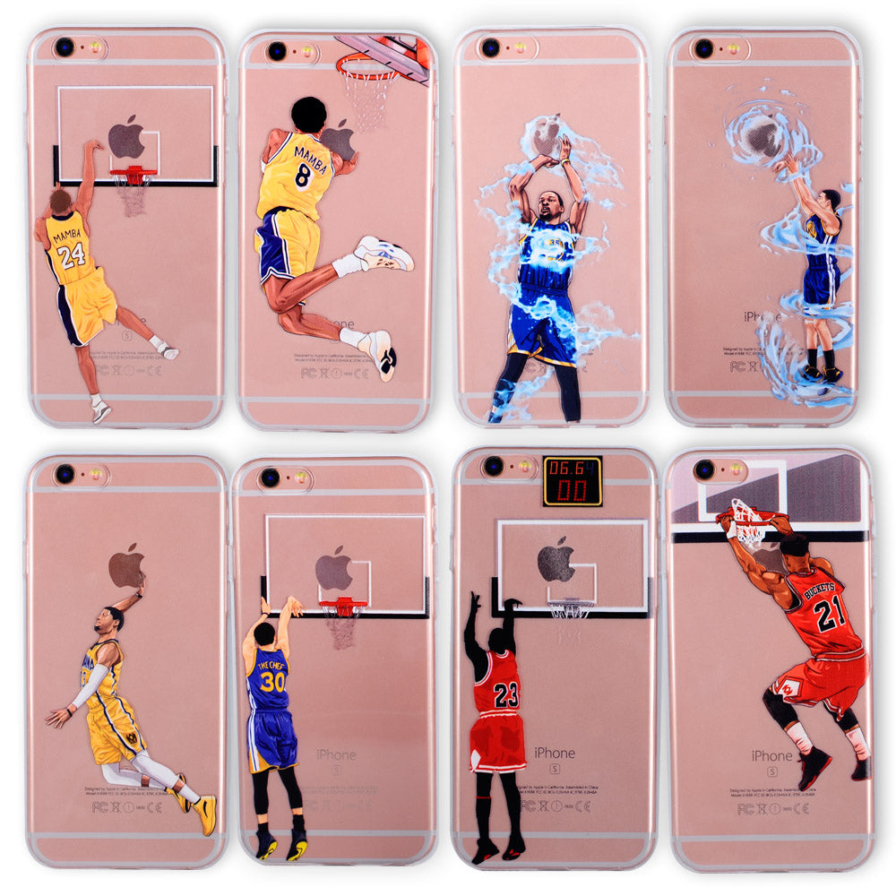 best service 615fc 5b11c Basketball Phone Case for iphone 6 Cases Silicone back Cover for iphone 8 7  plus 5 5se 6s curry jordan Kobe Bryant Wade