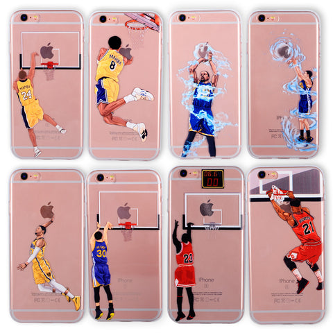 Basketball Phone Case for iphone 6 Cases Silicone back Cover for iphone 8  7 plus 5 5se 6s curry jordan Kobe Bryant Wade
