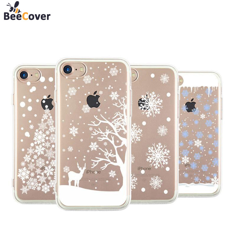 beecover for iphone 7 case christmas tree snowflakes elk soft tpu back cover shell for iphone