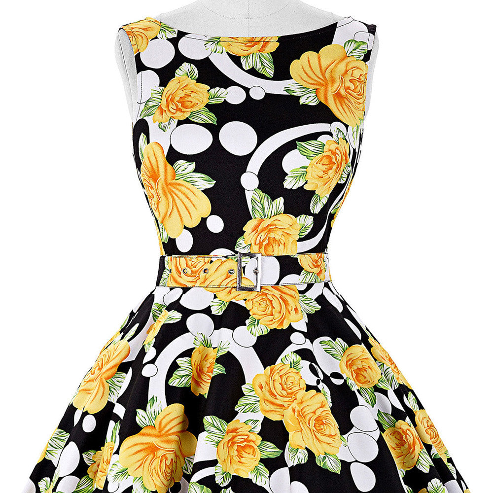 69d829d9d10 ... Belle Poque Print Floral 50s Vintage Dresses Audrey Hepburn 2017 Women  Summer Retro Dress vestidos robe ...