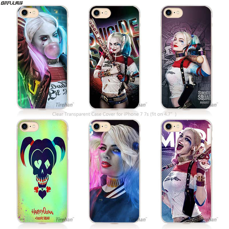 low priced e42c0 f6106 BiNFUL Harley Quinn Suicide Squad Hard Transparent Phone Case Cover Coque  for Apple iPhone 4 4s 5 5s SE 5C 6 6s 7 Plus