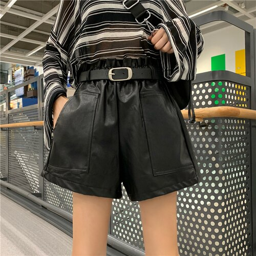 Black Faux Leather Shorts High Waist Wide Leg Shorts 2019 Autumn Winter Women Shorts Korean Fashion Streetwear