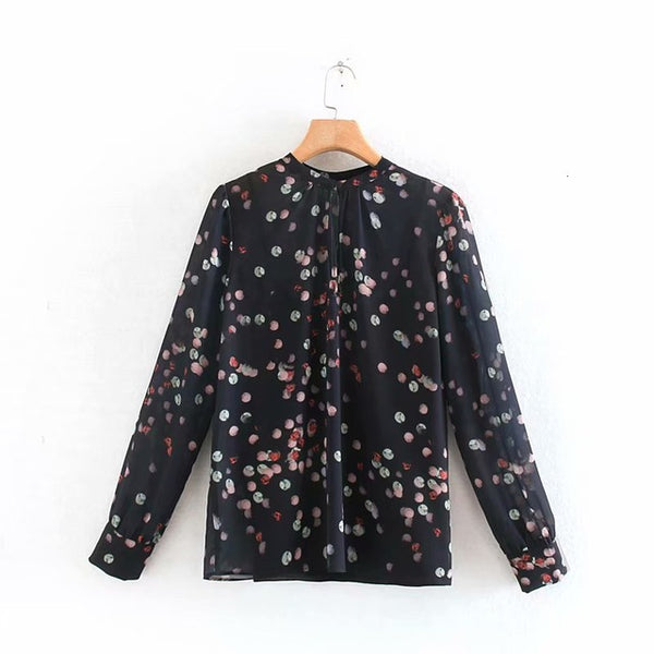 Black Long Sleeve Shirt Women Multicolor Dot Print Tops Fall 2019 Long Sleeve O-neck Tops blusas mujer