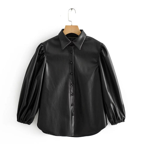 Black Pu Leather Shirt 2019 Autumn Women Blouses Tops Lantern Sleeve Button Shirt Ladies Tops blusa feminina