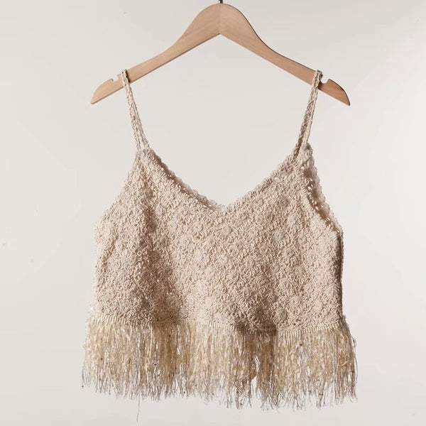 Boho Style Knitting Tassels Tops Sleeveless Vest Lady Summer Tops Vacation Beach Women Blouses