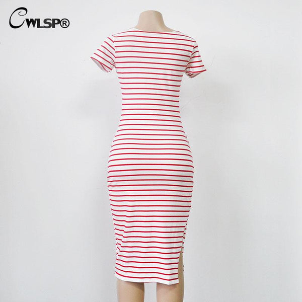 CWLSP Fashion Summer Striped Dress Women Short Sleeve O Neck Mid-Carf Bodycon Dress Side Split T Shirt Dresses Plus size 2XL