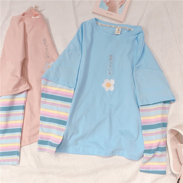 Candy Color Mori Girl Flower Embroidery Hoodies Rainbow Stripe Long Sleeve Ptachwork Pullover False two pieces Student Tops