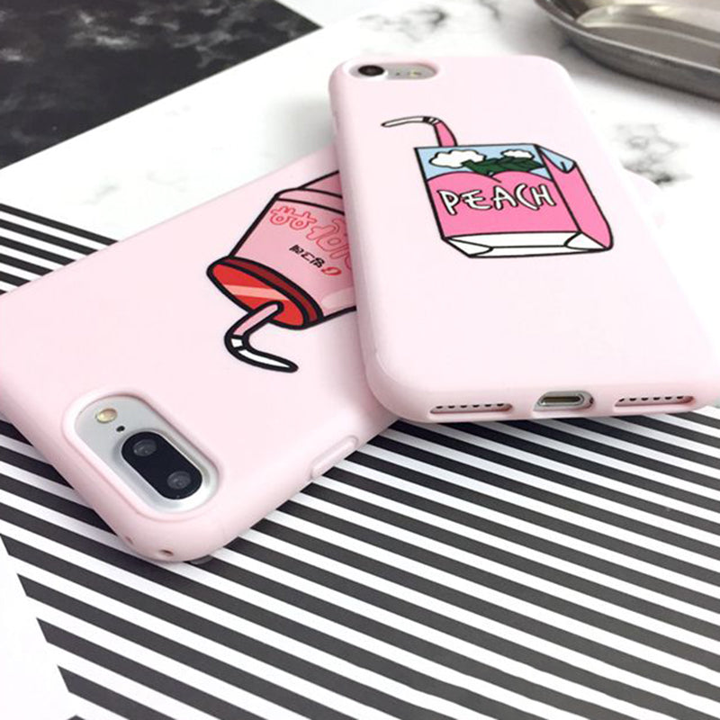Cartoon Fruit Peach Drinks Case For iphone 7 7 Plus Case For ...
