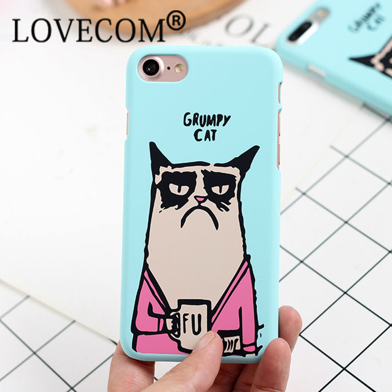 Cartoon Funny Cat Frosted Hard Phone Back Cover Case For Iphone 7 For Intel Retro