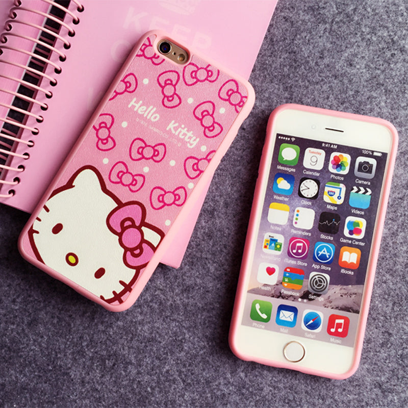 cozy fresh 6f87c 10e22 Cartoon Hello kitty Silk TPU soft pink color frame case For iphone 7 6 6S  Plus 5 5s SE phone case back cover For iphone 8 8plus