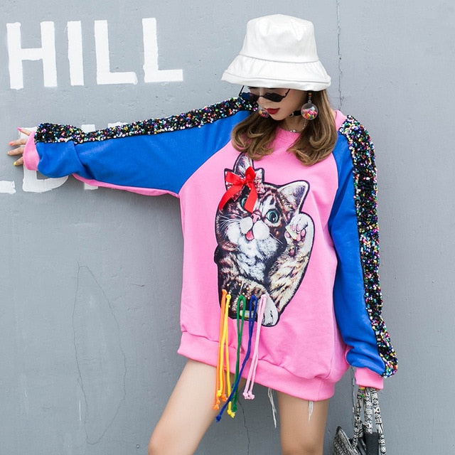 Cartoon cec sweater female foreign European station 2019 autumn new cat sequins loose shirt jacket tide brand