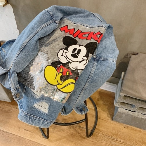 Cartoon denim jacket female 2019 early autumn new Korea wild loose ins super fire fashion shirt