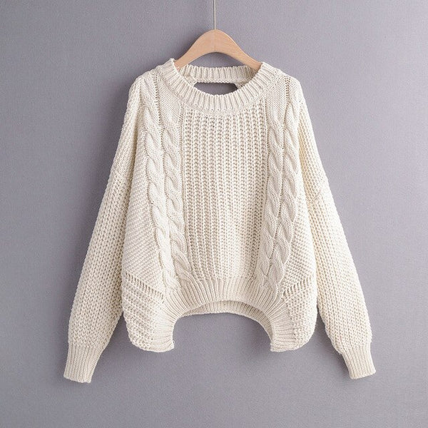 Casual Coarse Needle Knitting Sweater Back Hollow Out Yellow Sweater 2019 Autumn Winter Knitted Tops Loose Pullovers