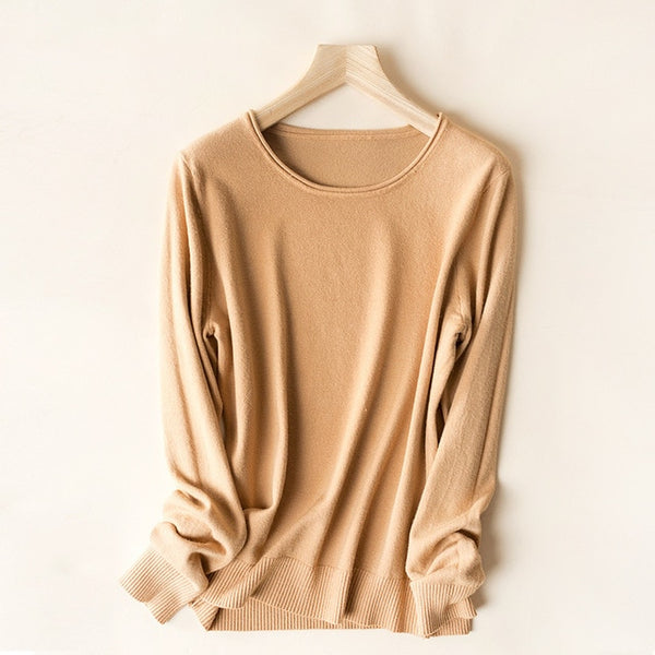 Casual Knitted Wool Sweater Women Round Neck Pullover Korean Candy Color Jumpers Autumn Winter Clothes Women 2019