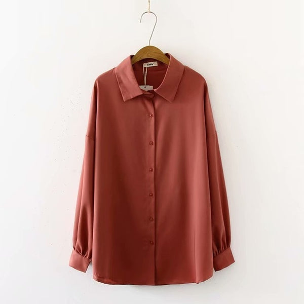 Casual Lantern Sleeve Shirt Fall 2019 Long Sleeve Button Shirt Solid Color Blouses Tops camisas mujer