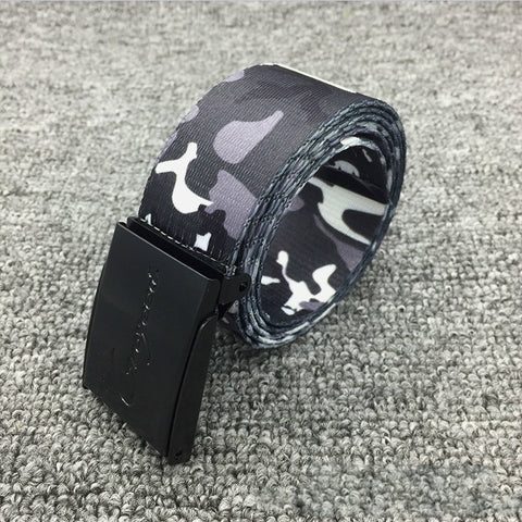 Casual Printed Graffiti Waist Belts New Men Women Camouflage Canvas Belt Couple Camo Tactical Jeans Buckle Straps Belt Unisex