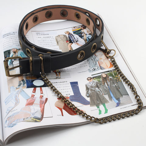 Chain Punk Hip-hop Trendy Women Belts Newest Design Detachable Waist Belt Lady Fashion Bronze Pin Buckle Leather Waistband Jeans