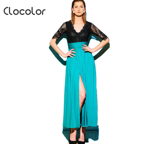 Clocolor maxi dress Green Cheap Deep V Neck Half Sleeve Blouse Patchwork Colored Ankle Length Dress maxi dress
