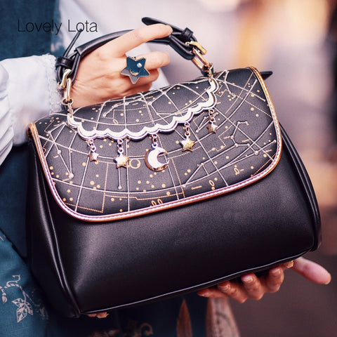 Constellation Printed Lolita Handbag Cute Moon & Star Pendant Temperament Elegant Crossbody bag Night Sky Cosplay Shoulder bag