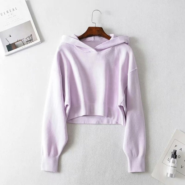 Cropped Sweatshirts Hoodies Women Hooded Pullovers Streetwear Fall 2019 Women Hoodies Solid Color sudadera mujer