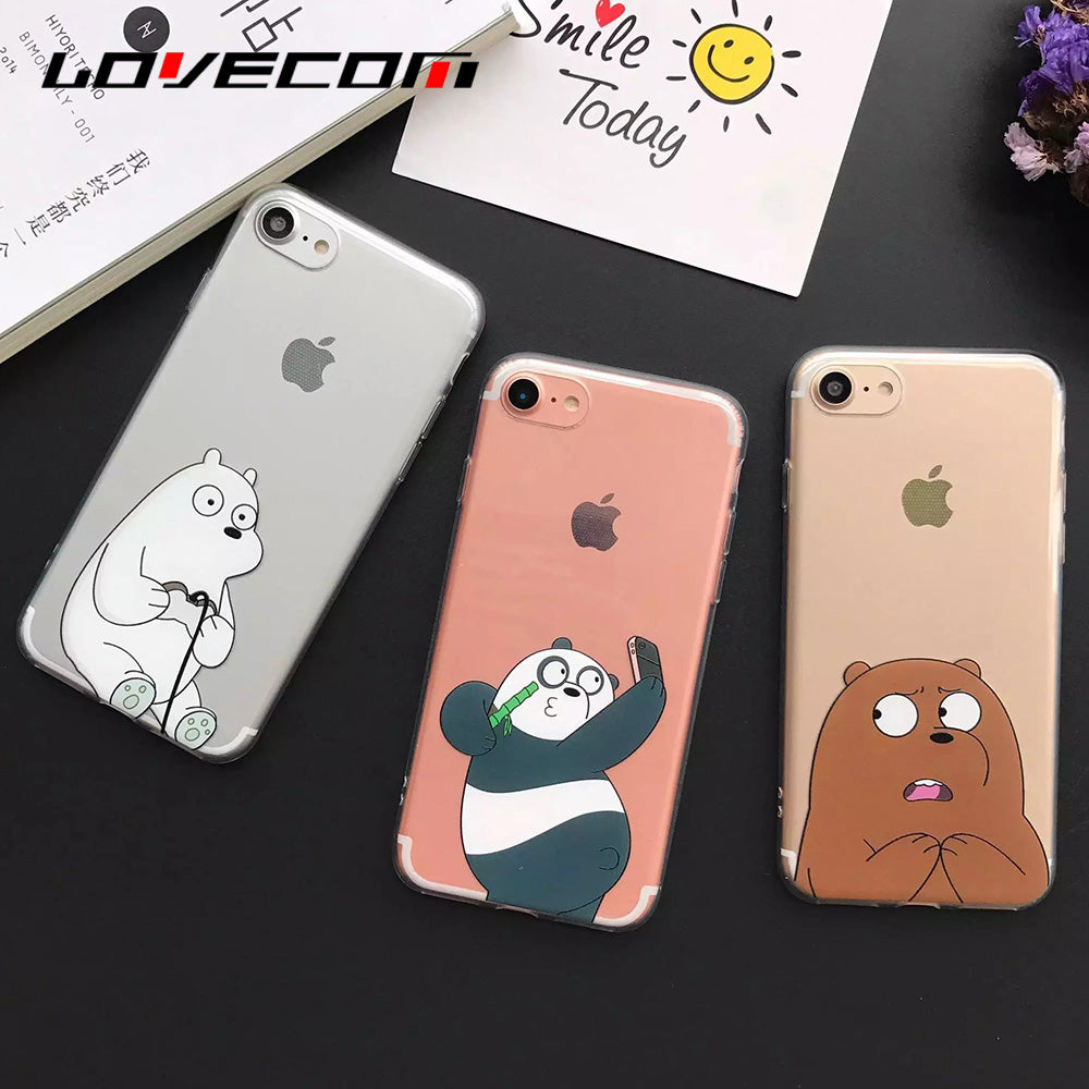 new styles 5dd6d 47953 Cute Cartoon Bear Panda Phone Case For Iphon 5S SE 6 6S Plus 7 7 Plus Soft  TPU Protective Phone Covers Coque YC2025
