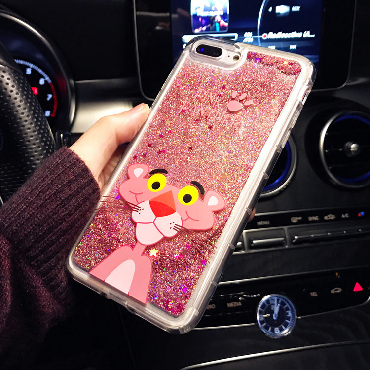 the latest 59d5a e3aef Cute Cartoon Pink Panther Animals Phone Case For Iphone 6 6s Plus Cases  Liquid Quicksand Glitter Case for Iphone 7 8 Plus Cases