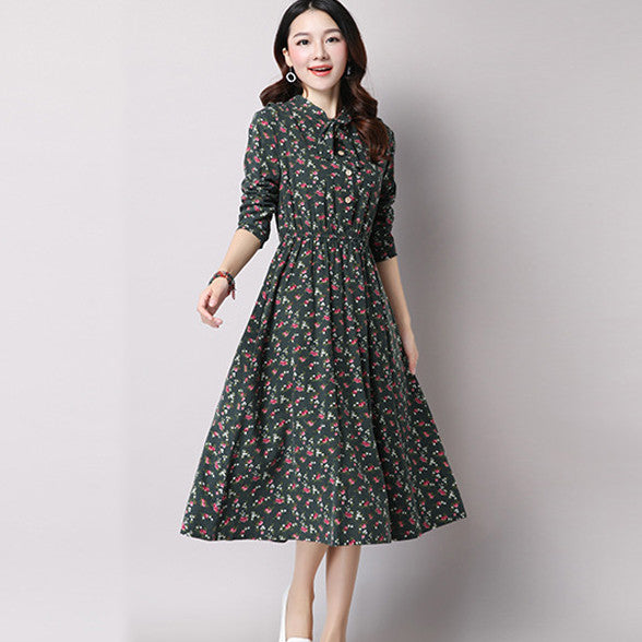 fec85b3af7 Cute Green Floral Dress Vintage Ladies Dresses Bohemian Style Autumn Winter Long  Sleeves All Match New