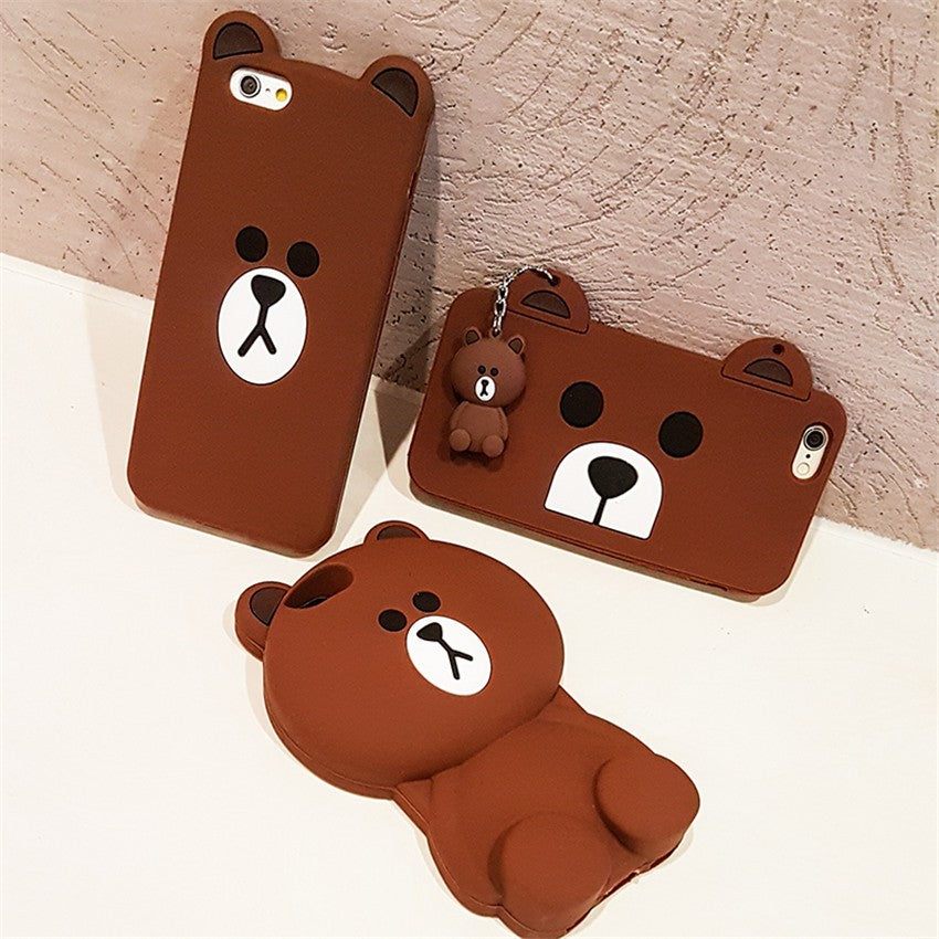 online store 55384 5bfee Cute Korean Cartoon Capa Case 3D Teddy Bear Coque Soft Silicone Phone Cases  For iPhone 8 7 7Plus 5 5S SE 6 6S 6Plus Cover Fundas