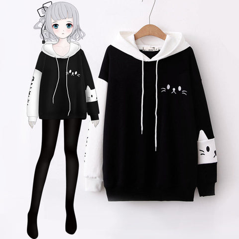 Cute Mori girl Cartoon Letter Cat Embroidery Patchwork Hoodie Winter Fall Pullover Long Sleeve Sweatshirt Women's Black & White