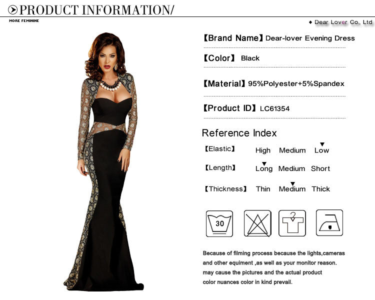 ffc043d679 ... Dear Lover Formal Gown Special Occasion Autumn 2017 Sexy Lace Mesh  Cutout Long Sleeve Maxi Party ...