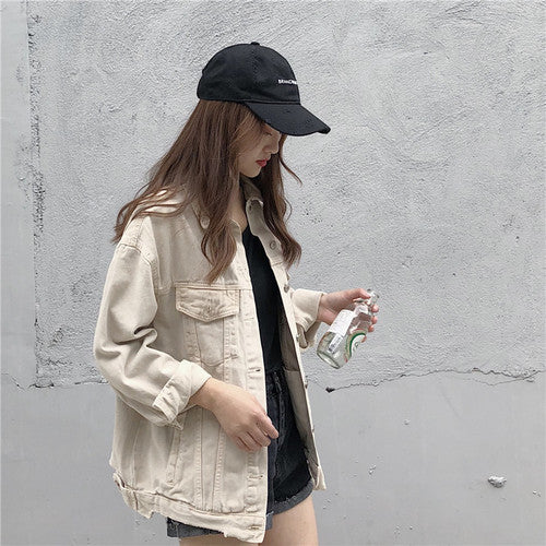 Denim Jacket Women Jeans Jacket 2019 Autumn Single Breasted Coat Loose Outwear 2019 Korean Fashion Women Clothing