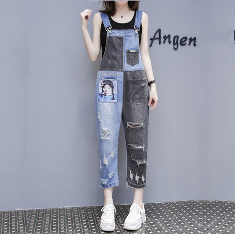 Denim overalls women's European station net red jeans female 2019spring AB face stitching loose hole strap 9 points jeans female