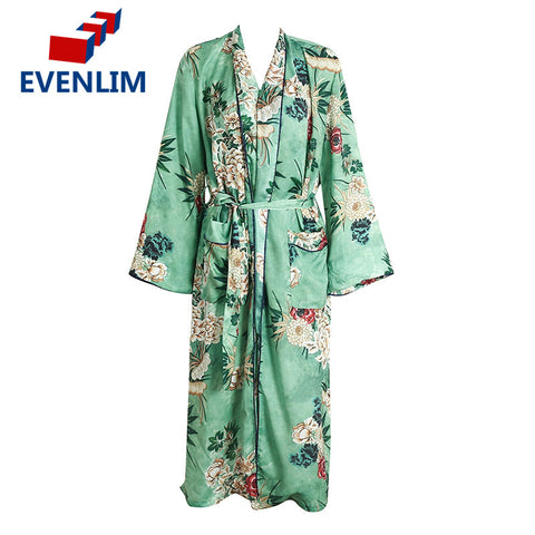 EVENLIM Floral Print Blouse Shirt Long Kimono Women Belt Slim Dress Cardigan Elegent Long Sleeve Summer Blouse blusas DRT454