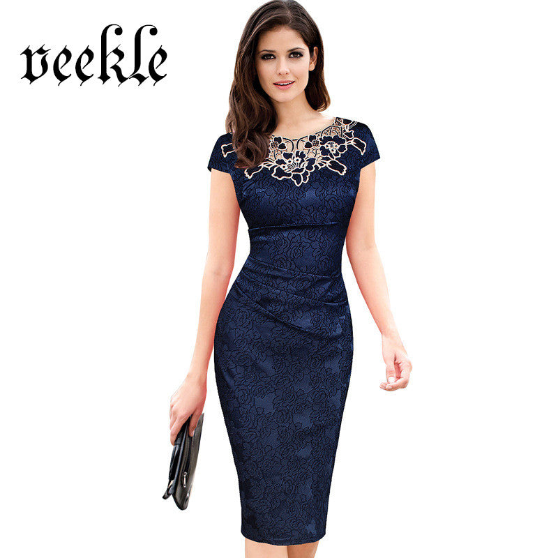ac89afc20ae8b0 Elegant Dresses Floral Print Women Vintage Office Dress Work Blue Slim Sexy  Beautiful Embroidery Lace Neck ...