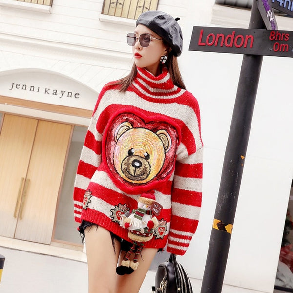 European station 2018 winter cartoon sequin bear stereo doll striped high collar thick knit sweater female jacket tide