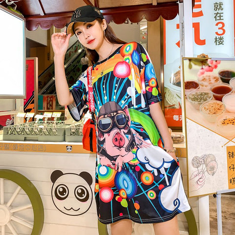 European station 2019 new t-shirt female long section loose tide brand short-sleeved round neck pullover cartoon print dress