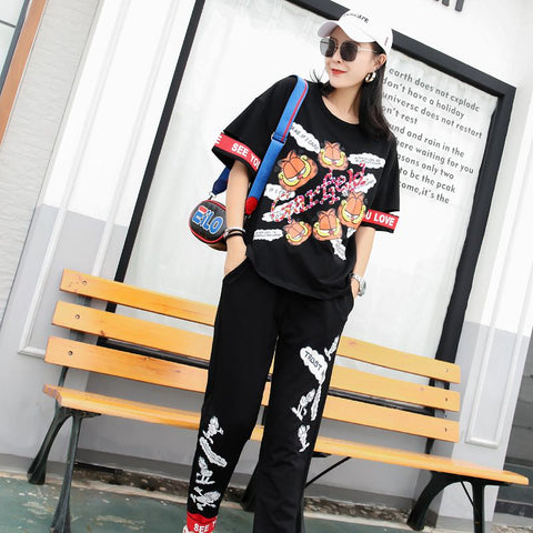 European station 2019 summer loose cartoon chic sequin print T-shirt suit personality tide brand wild two-piece suit