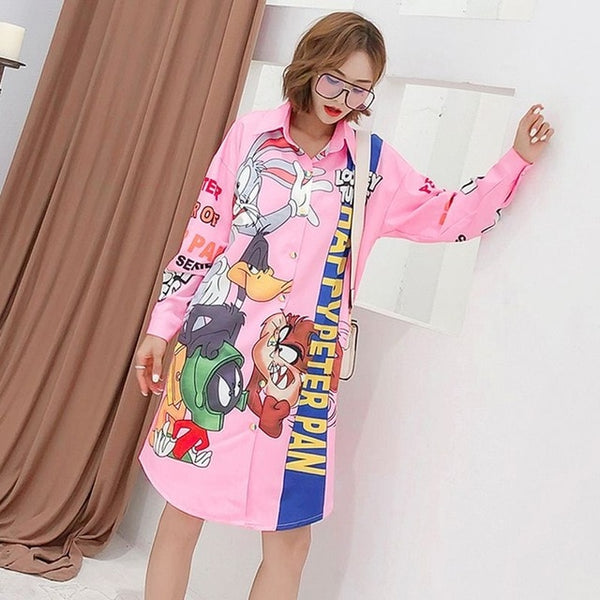 European station 2019 summer new print cartoon loose shirt in the long thin sun protection clothing cardigan coat