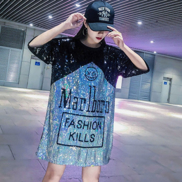 European station 2019 summer new tide brand personality letter sequins long loose loose short sleeve t-shirt