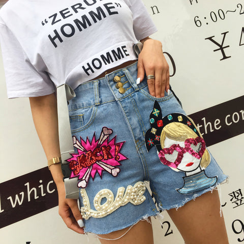 European station Thailand street fashion 2019 summer new chapter stick sequins letters pearl fashion high waist jeans