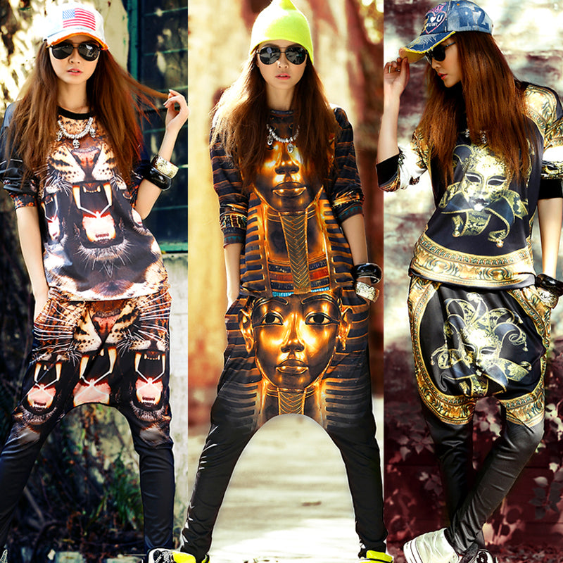 European station nightclub hip hop casual suit female T-shirt vest harem pants hanging street dance clothes Harajuku trend
